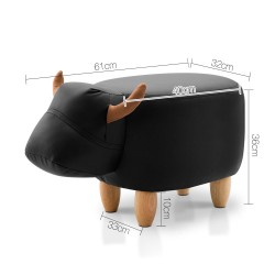Artiss Kids Cow Animal Stool - Black