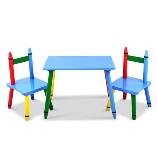 Keezi Kids 3 Piece Wooden Dining Set - Multi-Color