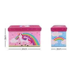 Kids Storage Toy Box Foldable - Pink / Unicorn