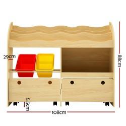 Artiss Kids Bookshelf Toy Bin Storage Box Children Organizer Bookcase 3 Tiers 2 Drawers