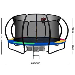 Everfit 14FT Trampoline With Basketball Hoop - Rainbow