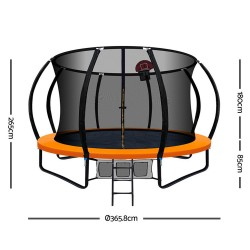 Everfit 12FT Trampoline With Basketball Hoop - Orange