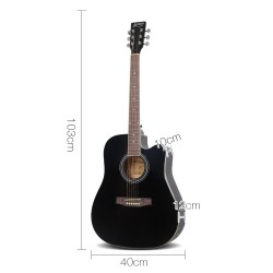 Alpha 41 Inch 5 Band Acoustic Guitar Full Size - Black