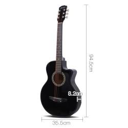 Alpha 38 Inch Wooden Acoustic Guitar Set- Black