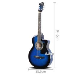 Alpha 38 Inch Wooden Acoustic Guitar Set - Blue