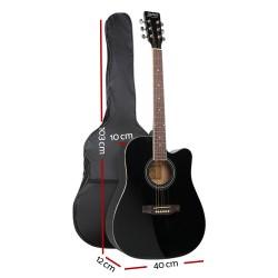 ALPHA 41 Inch Wooden Acoustic Guitar Set Full Size Black