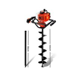Giantz 88CC Petrol Post Hole Digger Drill Borer Fence Extension Auger Bits