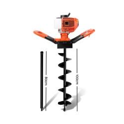 Giantz 75CC Petrol Post Hole Digger Drill Borer Fence Extension Auger Bits