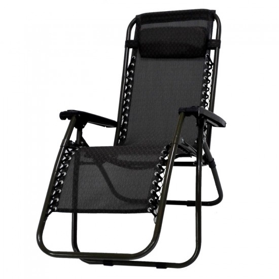 2 x Black Lounge Chairs - Patio Outdoor Garden Yard Beach Caravan