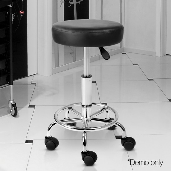 Artiss PU Leather Swivel Salon Stool - Black