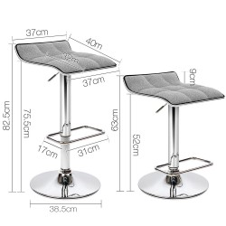 Artiss Set of 2 Fabric Bar Stools - Grey