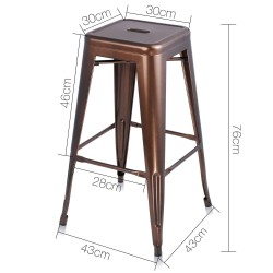 Artiss Set of 2 Metal Backless Stools - Bronze
