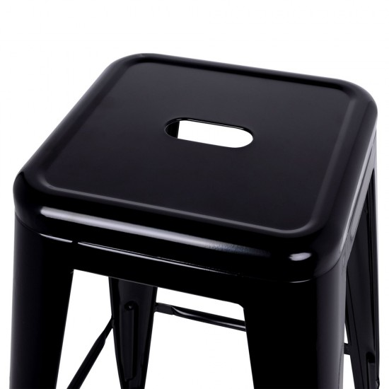 Artiss Set of 2 Metal Backless Stools - Black