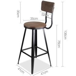 Artiss Industrial Swivel Bar Stool - Black