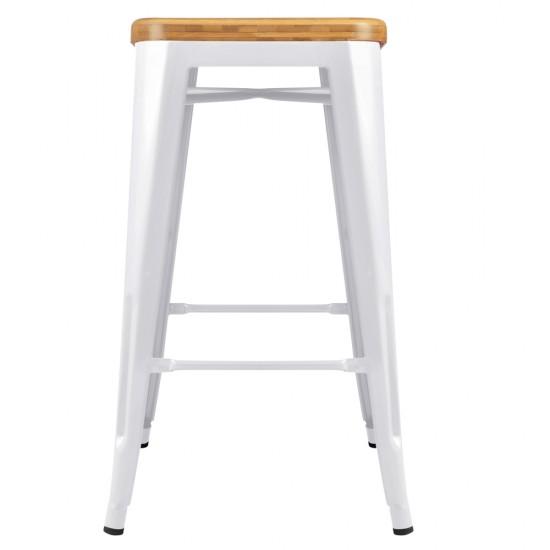 Artiss Set of 2 Metal and Bamboo Bar Stools - White