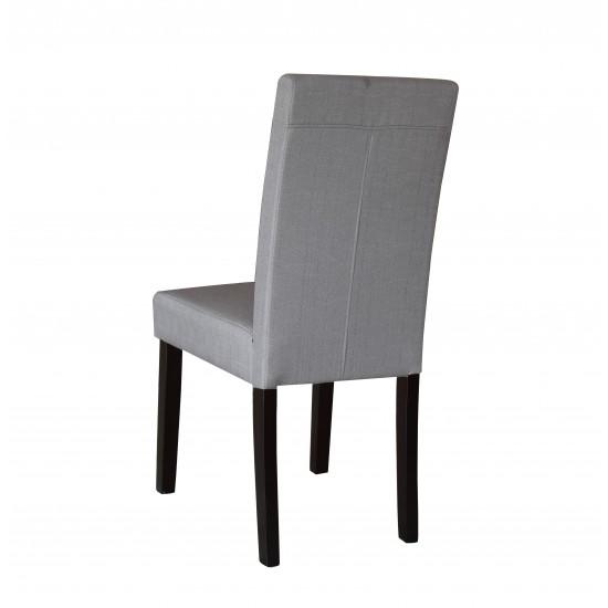 2 x Premium Fabric Linen Palermo Dining Chairs High Back - Light Slate Grey