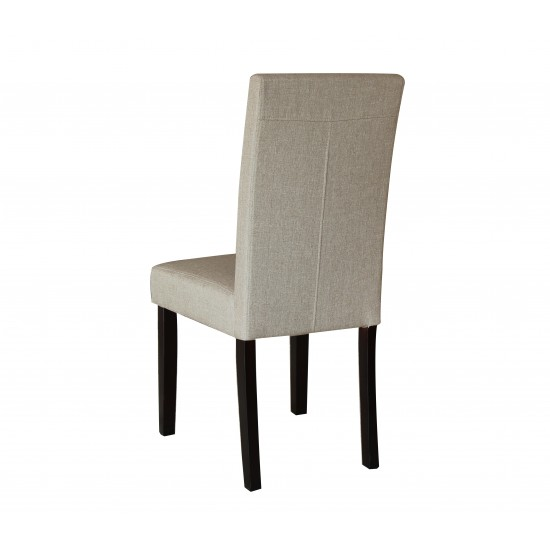 2 x Premium Fabric Linen Palermo Dining Chairs High Back - Dark Sandy Brown