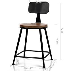 Artiss Set of 2 Elm Wood Dining Chairs - Dark Brown