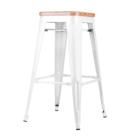 Artiss Set of 2 Bamboo Backless Bar Stools - White