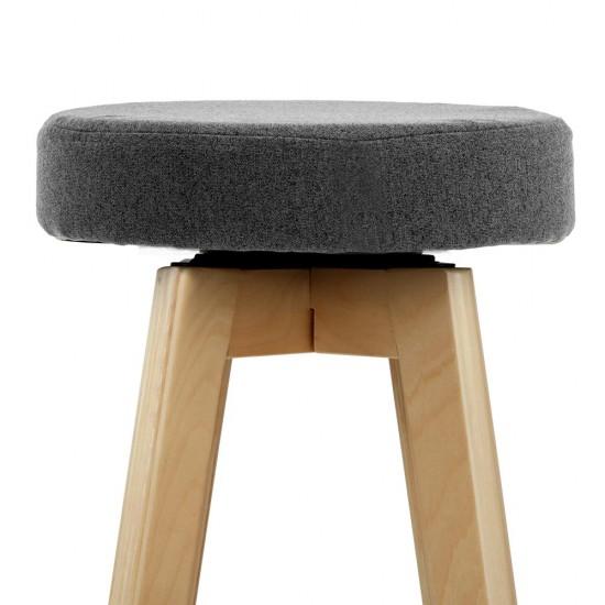 Artiss Set of 2 Linen Fabric Round Bar Stool - Grey