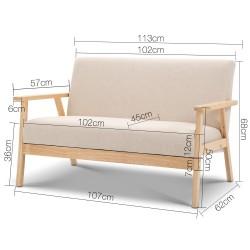 Artiss 2 Seater Fabric Sofa Chair - Beige