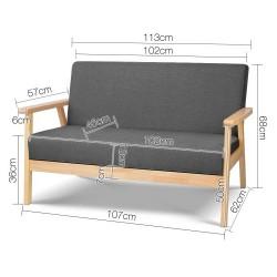 Artiss 2 Seater Fabric Sofa Chair - Grey