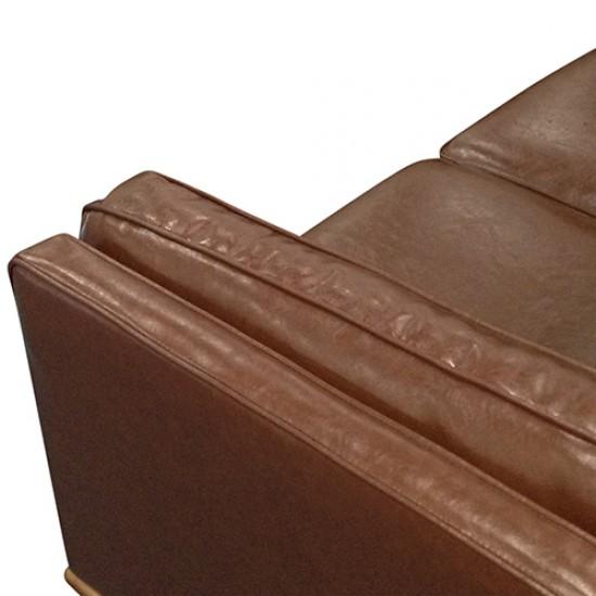 1 Seater Stylish Leatherette Brown York Sofa