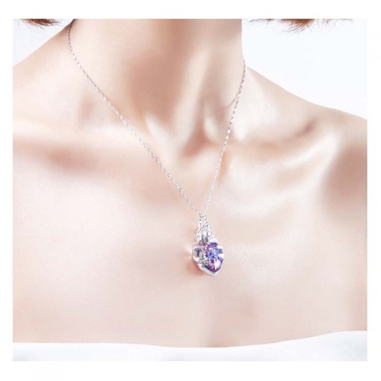 Silver Chain Neclace Made With Swarovski Crystal Pendant Necklace