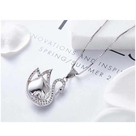 Made With Swarovski Necklace Pendant Silver Jewelry Swan