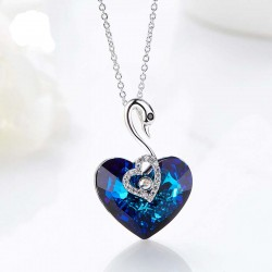 Made With Swarovski Necklace Pendant Silver Jewelry Swan Shape