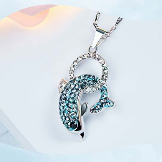 Necklace Made With Swarovski Crystal Pendant Silver Jewelry Dolphin