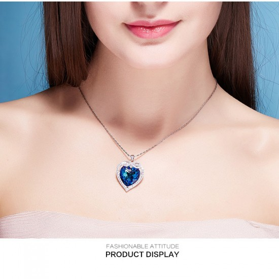 Necklace Made With Swarovski Crystal Pendant Silver Jewelry Heart