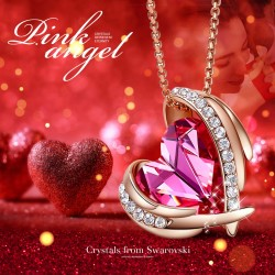 Angel 18K Rose Gold Plated Pendant Necklaces Women Made With Swarovski Necklace Heart Jewelry
