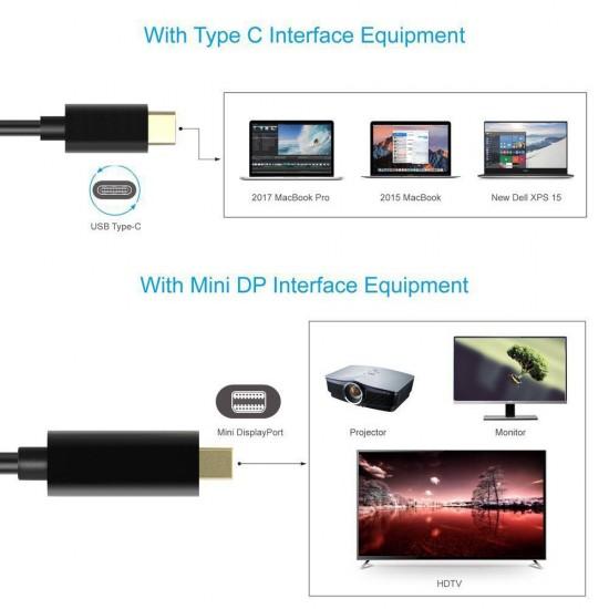 1.8M USB C Type C to Mini Displayport Cable Mini DP Adapter 4K Apple  Samsung