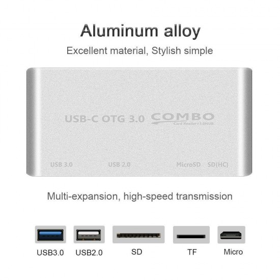 USB-C OTG Hub to USB 3.0 2.0+TF Card Reader Micro USB Power Charging Port
