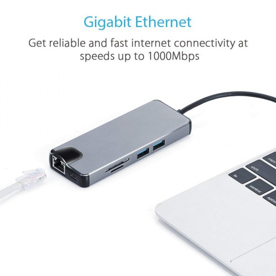 8in1 USB Type  C to HDMI Micro SD/TF Card Reader,VGA,USB 3.0 Enthernet