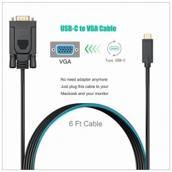 1.8M Type C USB-C Thunderbolt 3 to VGA Cable Male to Male Converter for MacBook