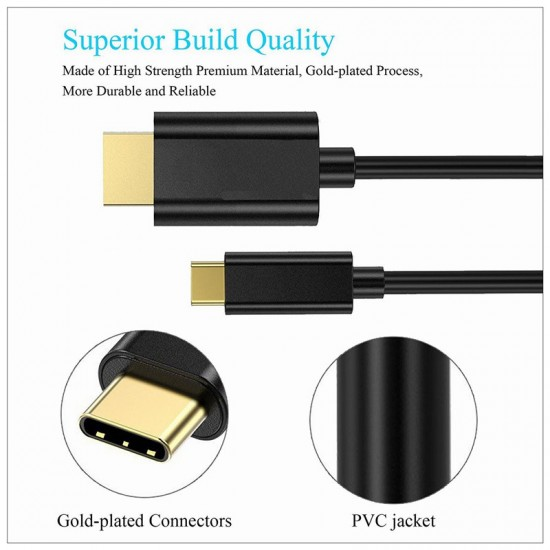 1.8M USB Type C USB-C Thunderbolt 3 to HDMI Cable Male to Male Converter