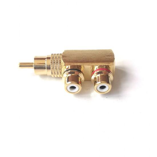 RCA AV Audio Splitter Adapter 1 Male To 2 Female Gold Plated